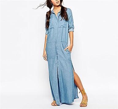 Beverly Campbell Fashion Split Midi Shirt Dress Women Sexy Casual Maxi Denim Dress Long Sleeve Plus Size Long Clothing Robe 2017 Spring Fashion Vestidos