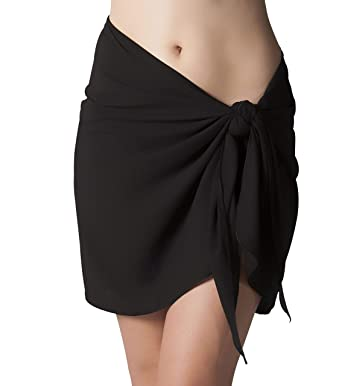 8d3f8cacdb Sarong Wrap Cover Up Short with Easy Wearing Built in Ties - Wrinkle  Resistant Beach Sarong, Black at Amazon Women's Clothing store: Fashion Swimwear  Cover ...
