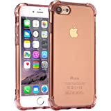 """iPhone 8 Case, iPhone 7 Case, Jenuos Silicon Clear Shockproof Case Cover for iPhone 7 and iPhone 8 4.7"""", Transparent Soft TPU Bumper - Rose (7G-TPU-RE)"""