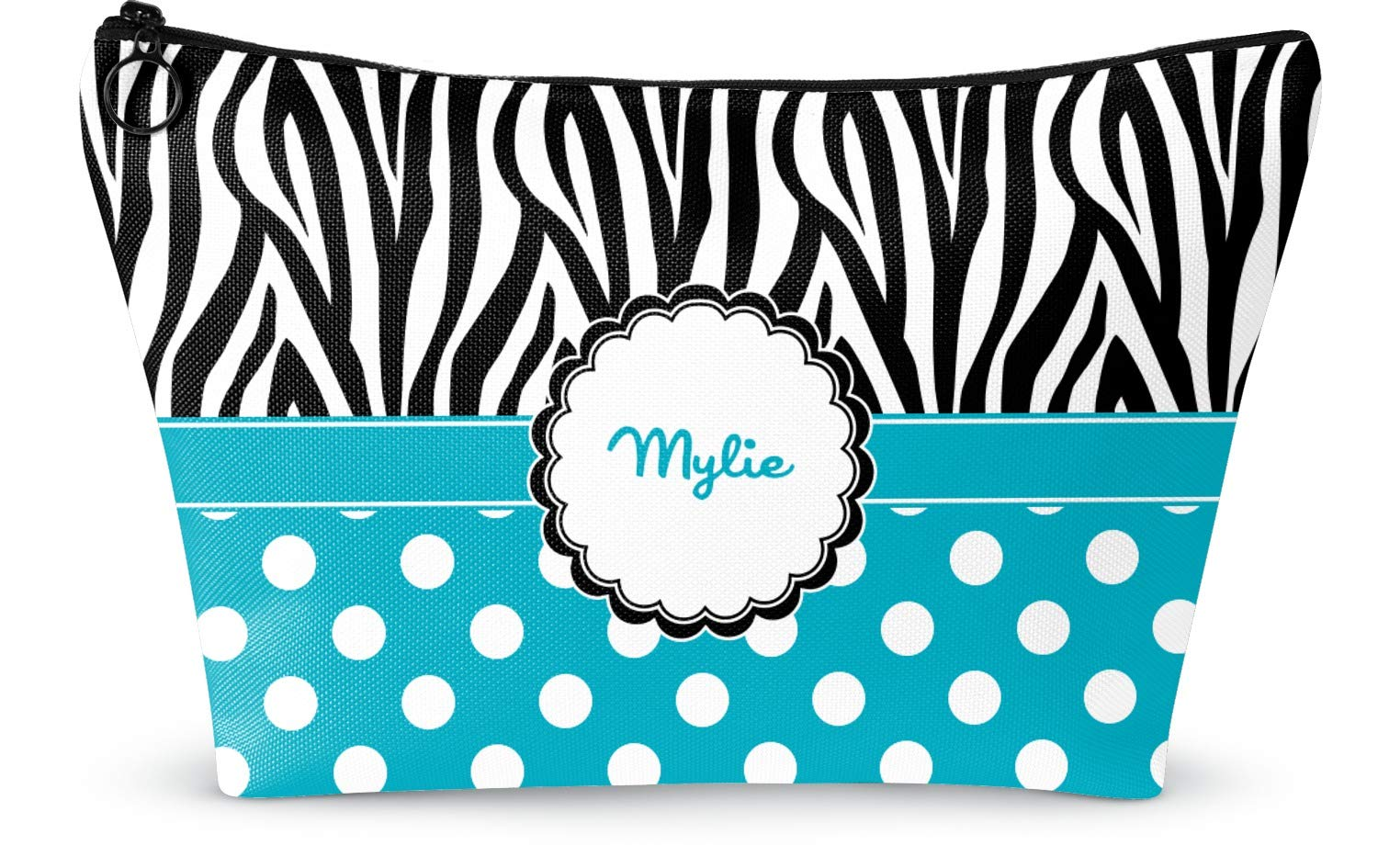 "Dots & Zebra Makeup Bag - Large - 12.5""x7"" (Personalized)"