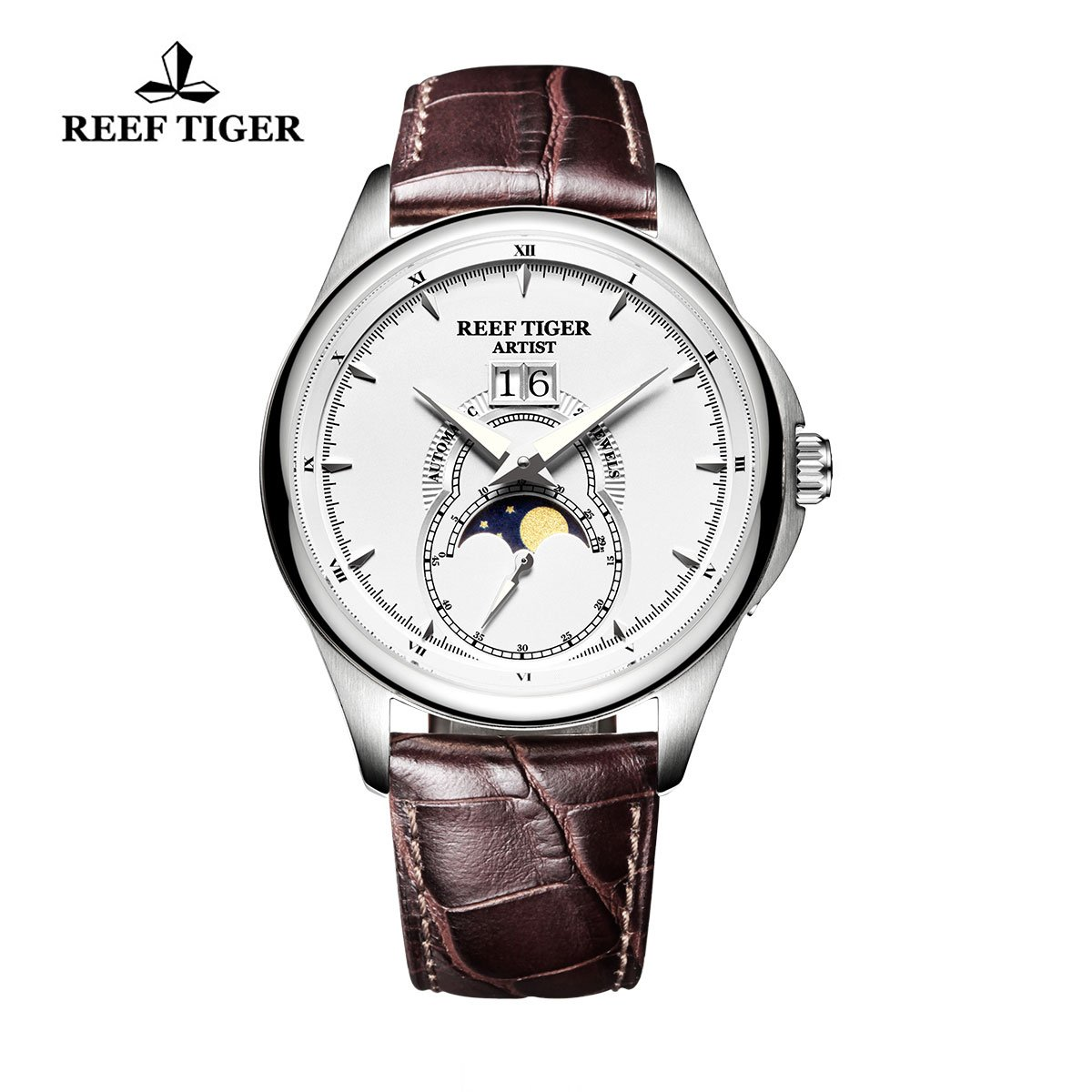 Reef Tiger Fashion Watches for Men Moon Phase Big Date Rose Gold White Dial Leather Strap Watch RGA1928