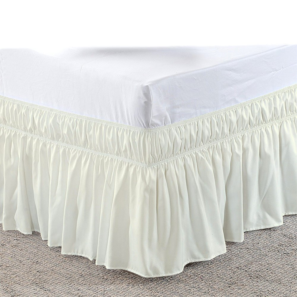 bedskirts ruffle - Three Sides Fabric - Wrap Around Bed Skirt, Microfiber Elastic Dust Ruffle - 16 Inch Drop Easy Fit Hotel Quality Fabric - (Short Queen/Queen, Ivory)