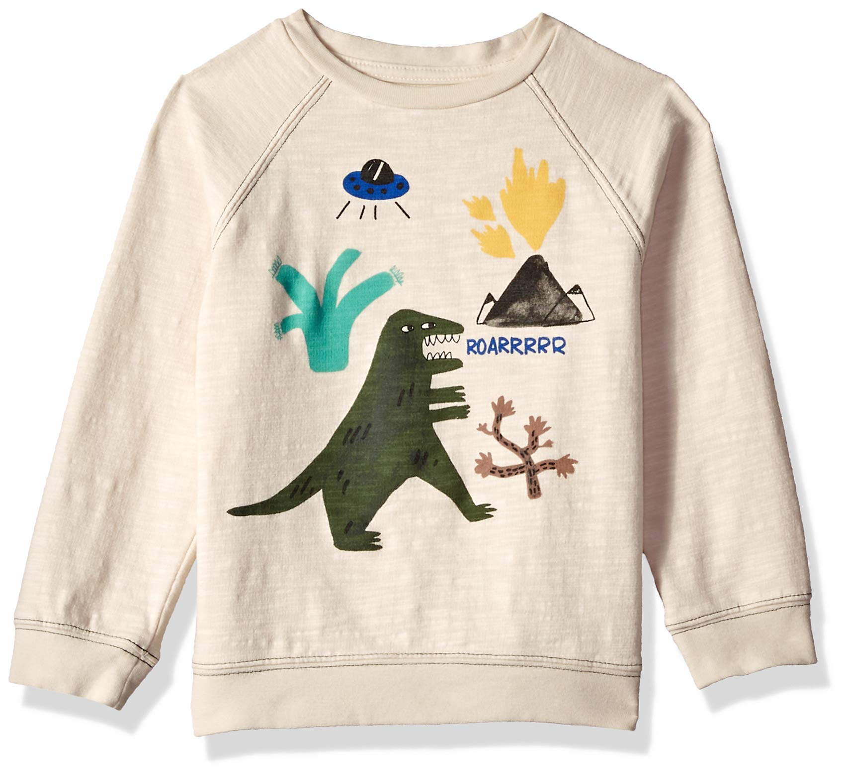 Gymboree Boys' Big Long Sleeve Pullover Sweater, Dino/White 2T