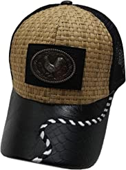8f95f420473 USA Headwear Straw Woven Rooster Patched Mesh Western Style Khaki Black  Baseball Cap