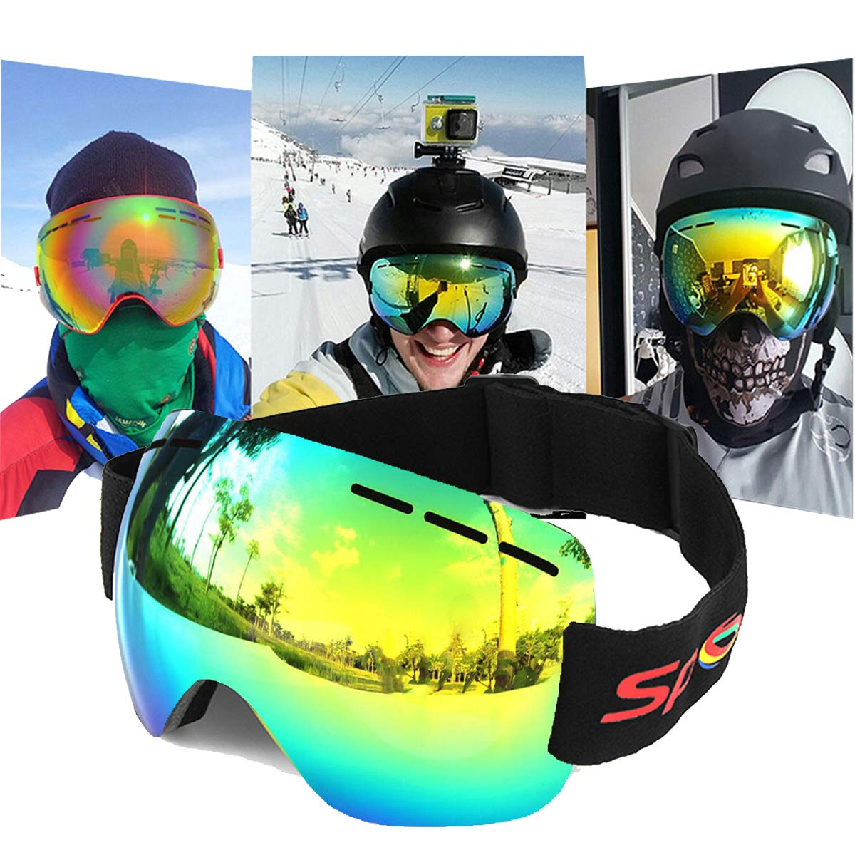 94f3a277b595 Amazon.com  LoiLee Motorcycle Goggles Anti-Fog UV Skiing Snowboard Racing Sunglasses  Snow Mirror Glasses  Sports   Outdoors
