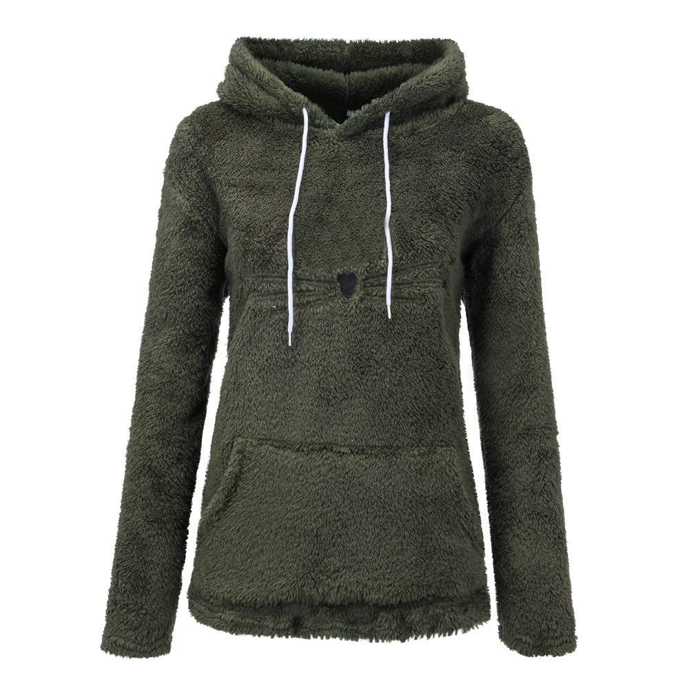Sunmoot Womens Teddy Bear Hoodie Sweater Coat Long Sleeve Fleece Sweatshirt Warm Bear Shape Fuzzy Hoodie Pullover