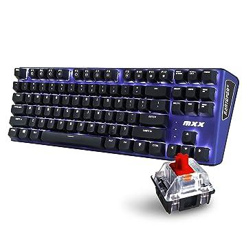 Teclado gaming Rantopad MXX 87 teclas, color Mono-Blue-Red: Amazon.es: Oficina y papelería