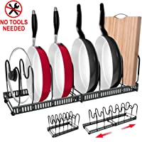 """Expandable Pan Rack Organizer, G-TING 7+ Adjustable Pot Lid Holders & Bakeware Rack, Kitchen Cookware Pantry Cabinet Storage Rack with 7 Expandable and Adjustable Compartments (Up to 23"""")"""