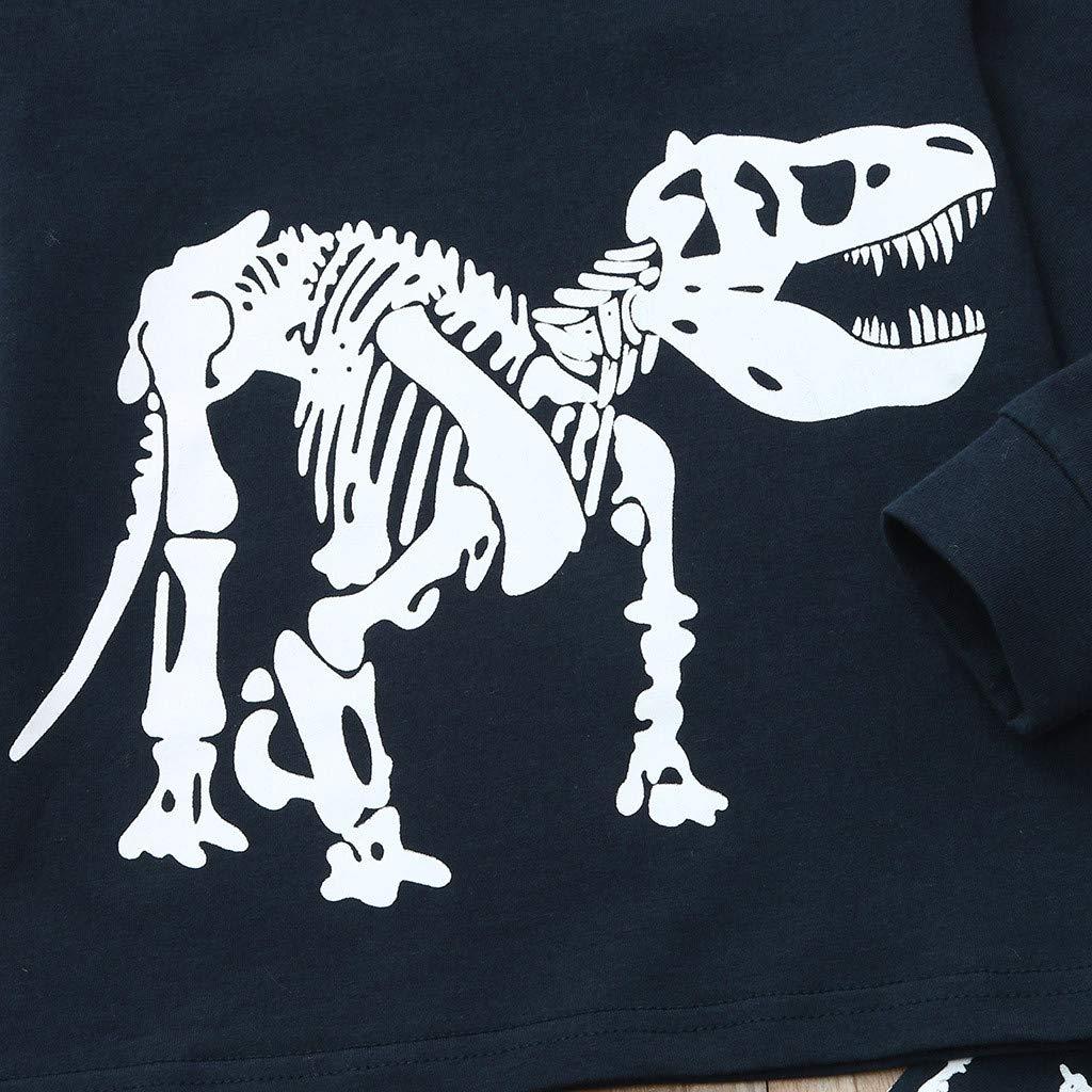 Webla Pajamas de Tenues de T-Shirt Pull Sweatshirt de Motif Dinosaure Cartton Longue Manche Top+Pantalon Tenues de Service /à Domicile pour Enfant Gar/çon Fille