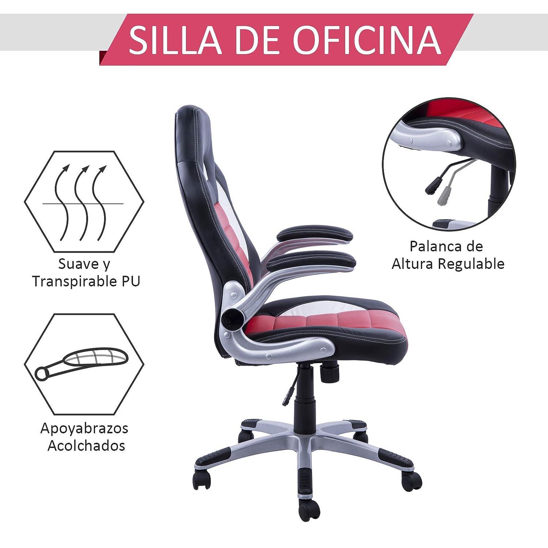 HOMCOM Racing Silla Oficina ejecutiva Deportiva Silla Gaming para pc Sillon Estudio direccion giratoria Medidas, Medida, Color Negro/Rojo/Blanco: Amazon.es: ...