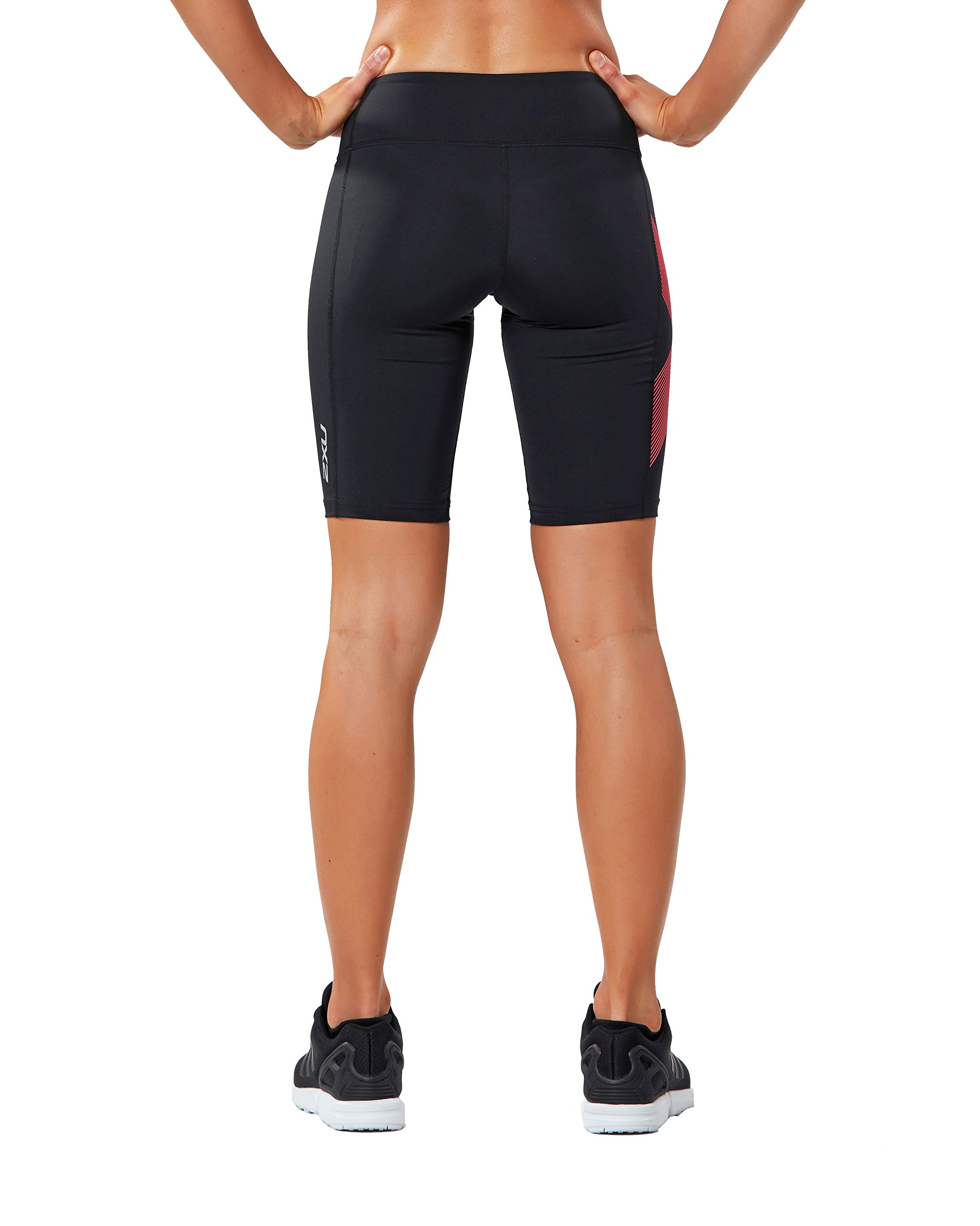 2XU Women's Mid-Rise Compression Shorts, Black/Striped Pink Glow, Small by 2XU (Image #3)