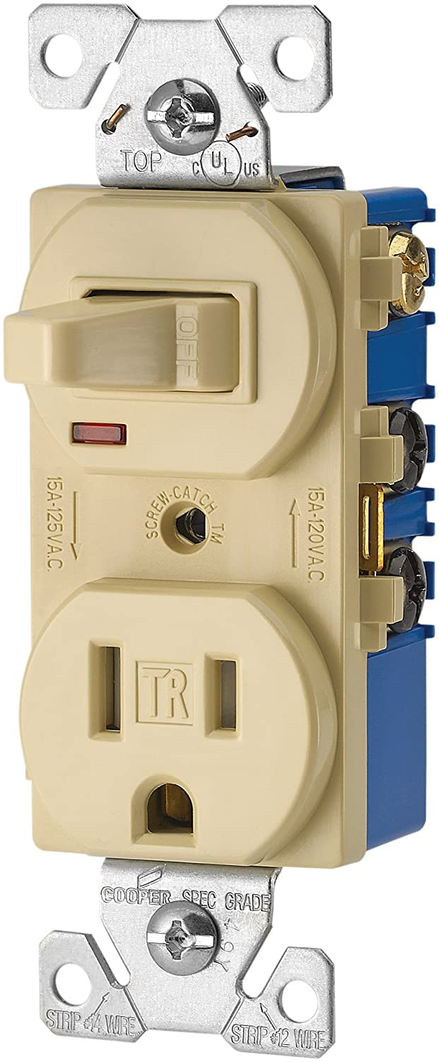 eaton tr274v 3 wire receptacle combo single pole switch with tamper resistant 2 pole ivory electrical outlet switches amazon com