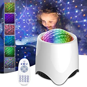 Star Projector Night Light for Kids, Amouhom Bluetooth Speaker LED Ocean Wave Lamp Remote Control, White Noise Machine for Sleeping/Nursery/Yoga/Relaxation, Bedroom Decor, Christmas Gifts for Kids