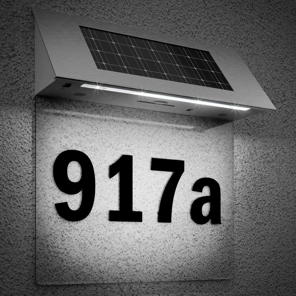Solarhausnummer Hausnummer Edelstahl LED weiß Solarlampe Beleuchtung Wand NEU