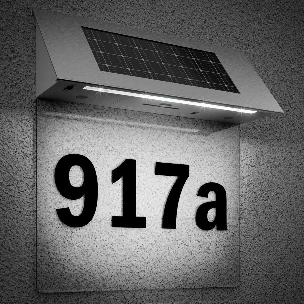 Numé ro de maison solaire en acier inoxydable avec 4 LED fortes, numé ro de maison avec lampe solaire LED, applique murale exté rieure avec numé ro de maison, couleurs au choix, multicolore Deuba