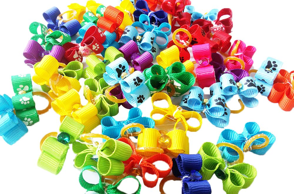 PET SHOW Cute Ribbon Rhinestone Small Dogs Hair Bows With Rubber Bands Cat Puppy Hair Topknot Grooming Accessories Mixed Colors Pack of 100