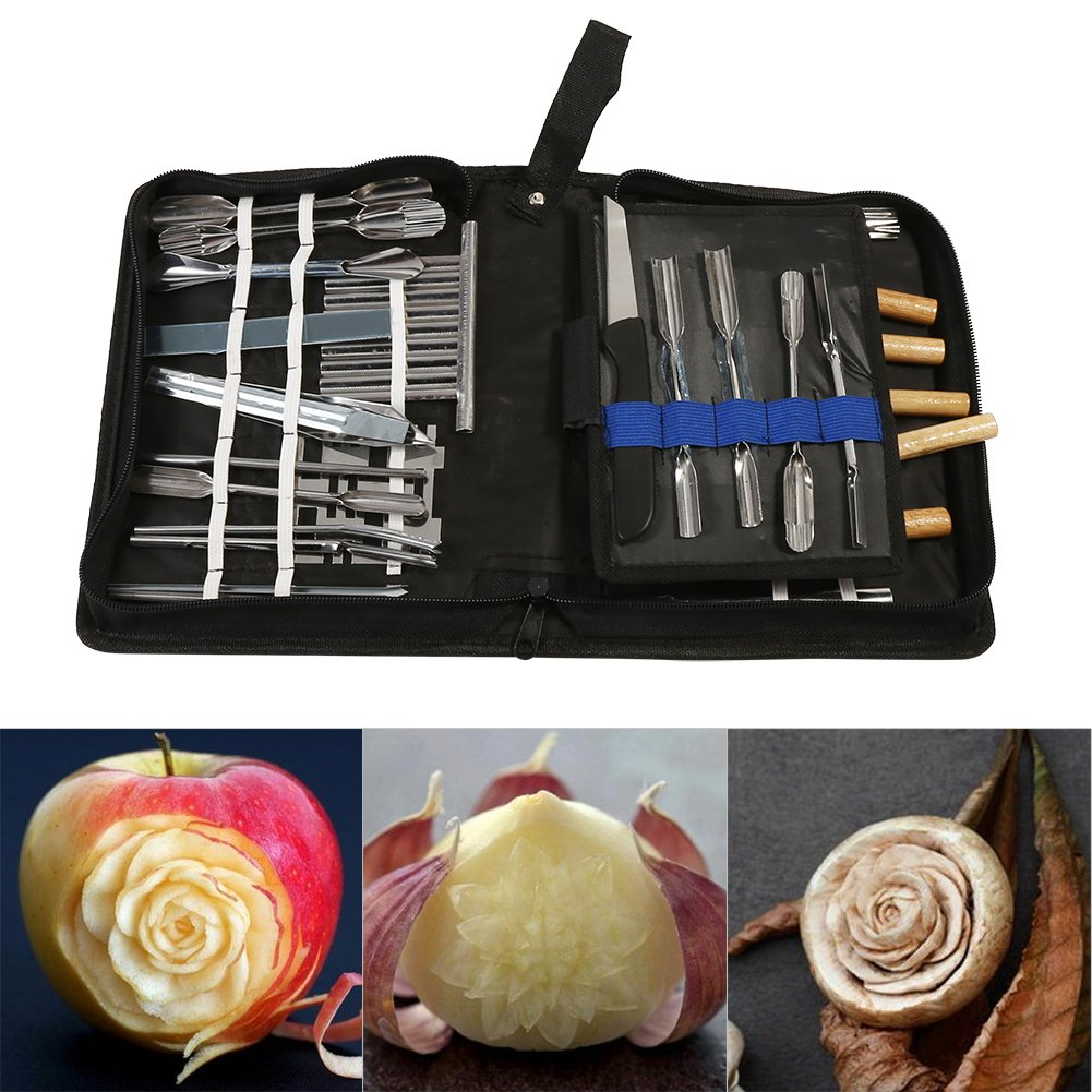 46Pcs Culinary Carving Tools Set Portable Garnishing/Cutting/Slicing Garnish Tools Kit for Vegetable Fruit Food Zerodis
