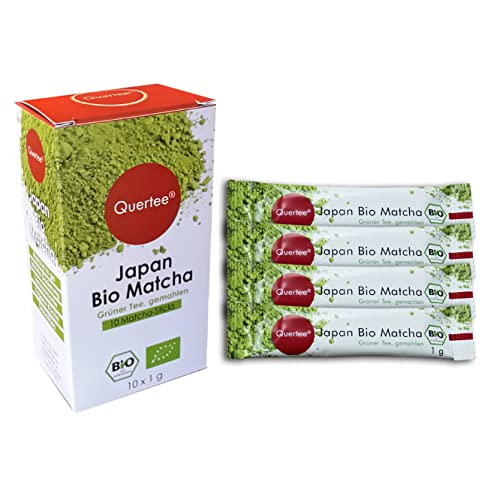 Quertee® - Japan Bio Matcha Tee Matcha Sticks - Matcha to go - Matcha für unterwegs und im Büro - Als Trinkgenuß, zum Kochen, Backen und Probieren - 10 x 1 g als praktische Dosier Sticks