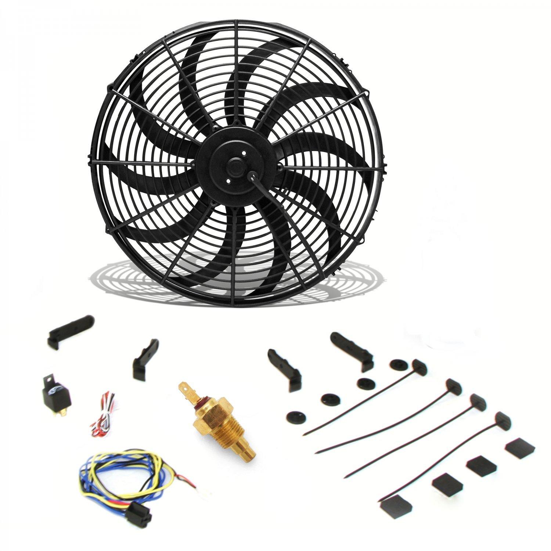 COOL OFF ZIR76D49 16 Electric Curved Blade Reversible Cooling Fan 12v 3000cfm & Thermostat Kit Zirgo