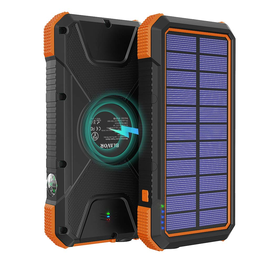 Solar Power Bank 20000mAh, 18W Quick Charge 3.0 Portable Outdoor Wireless Charger 10W/7.5W/5W with 4 Outputs & Dual Inputs, External Battery Pack IPX5 Waterproof with 3 Modes Flashlight Compass Orange by LEO WAY