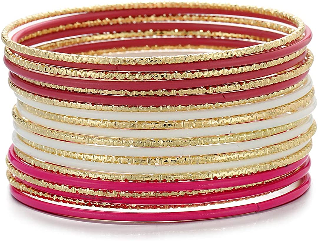 ENSOUL Colorful Painted Enamel Coated Mixed Metal Multi Bangles Bracelets for Women