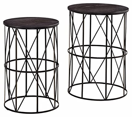 Ashley Furniture Signature Design   Marxim End Tables   Traditional Vintage  Style   Round   Dark