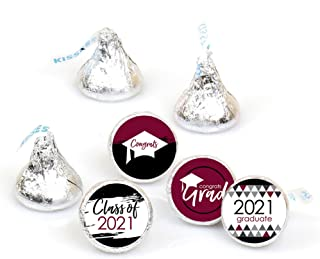 product image for Big Dot of Happiness Maroon Grad - Best is Yet to Come - Burgundy 2021 Graduation Party Round Candy Sticker Favors - Labels Fit Hershey's Kisses (1 Sheet of 108)