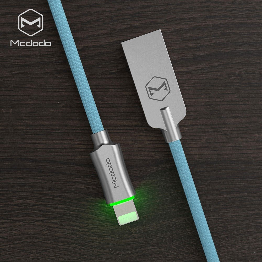 Mcdodo iPhone Smart LED Auto Disconnect Lightning nylon Braided 4FT/1.2M Sync Charge USB Data Cable For iPhone 8/8 Plus X 7/7 Plus, 6/6 Plus, 6s/6s Plus, 5s/5c/5, iPad Pro/Air /mini ,iPod (Blue) by MCDODO (Image #7)