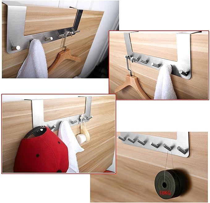 Over the Door Hooks Sumnacon Heavy Duty 6 Hooks Simple and Elegant Door Hanger for Towel Jackets Clothes Etc Bathroom Suitable 1.5  to 1.8  Thickness Door Kitchen Door Organizer Bedroom