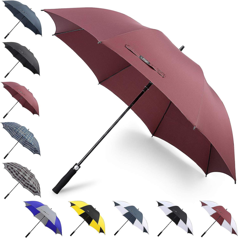 G4Free 62/68Inch Extra Large Oversized Golf Umbrella Heavy Duty Big Long Umbrella Automatic Open Windproof Waterproof Stick Rain Umbrellas for Men Women