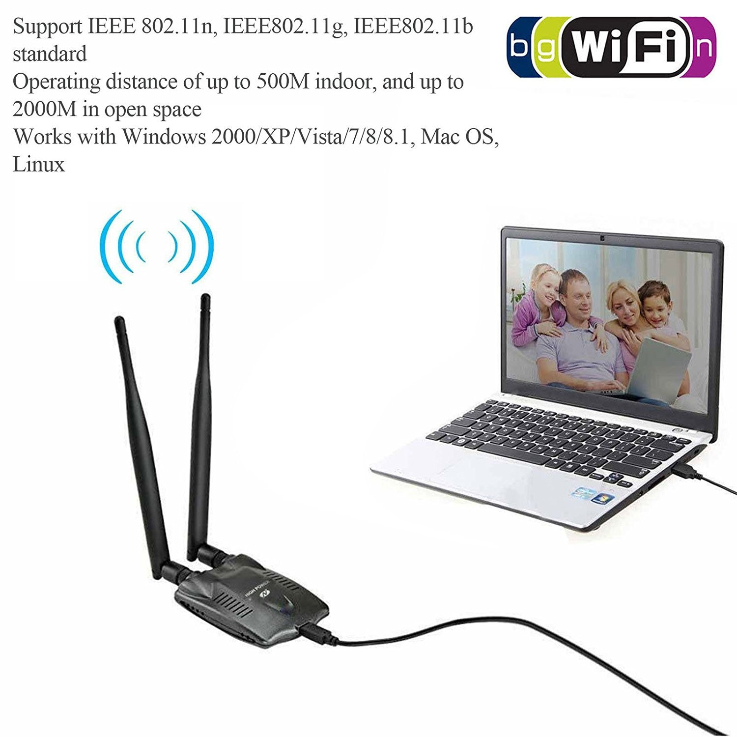 EEEKit High Power USB WI-FI Wireless Adapter Network Card Receiver 3000MW Signal 150Mbps 6dBi 802.11 b/g/n Dual Antenna 2.4Ghz for PC Laptop Computer by EEEKit (Image #3)