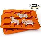 Dachshund Dog Shaped Ice Cube Tray, Kayaso Silicone Ice Cube Mold, Chocolate Mold (dog shape)
