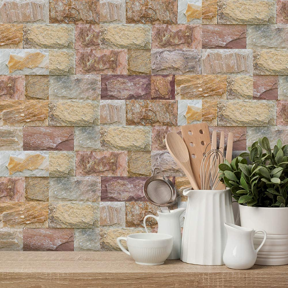 27pcs Non-slip Waterproof Tile Stickers Peel and Stick 20x10cm - 27 pcs, Brown Stone Brick 3D Brick Effect Self Adhesive Wall Tiles Sticker Decals for Bathroom Kitchen Backsplash DIY Home Decor