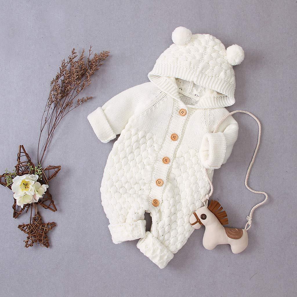 Tronet Baby Winter Coat,Newborn Infant Baby Girl Boy Winter Warm Coat Knit Outwear Hooded Jumpsuit