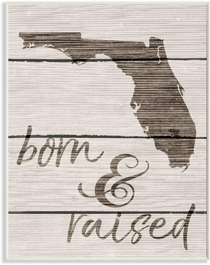 Stupell Industries Born and Raised Florida Wall Plaque, 10 x 15, Design by Artist Daphne Polselli