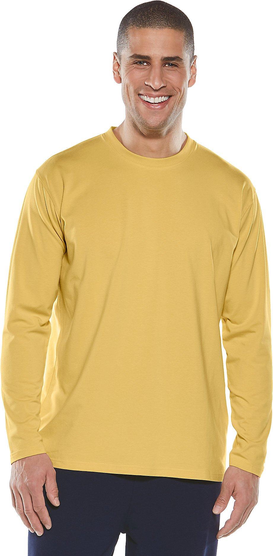 Coolibar UPF 50+ Men's Long Sleeve Everyday T-Shirt - Sun Protective (X-Large- Sahara Sun)