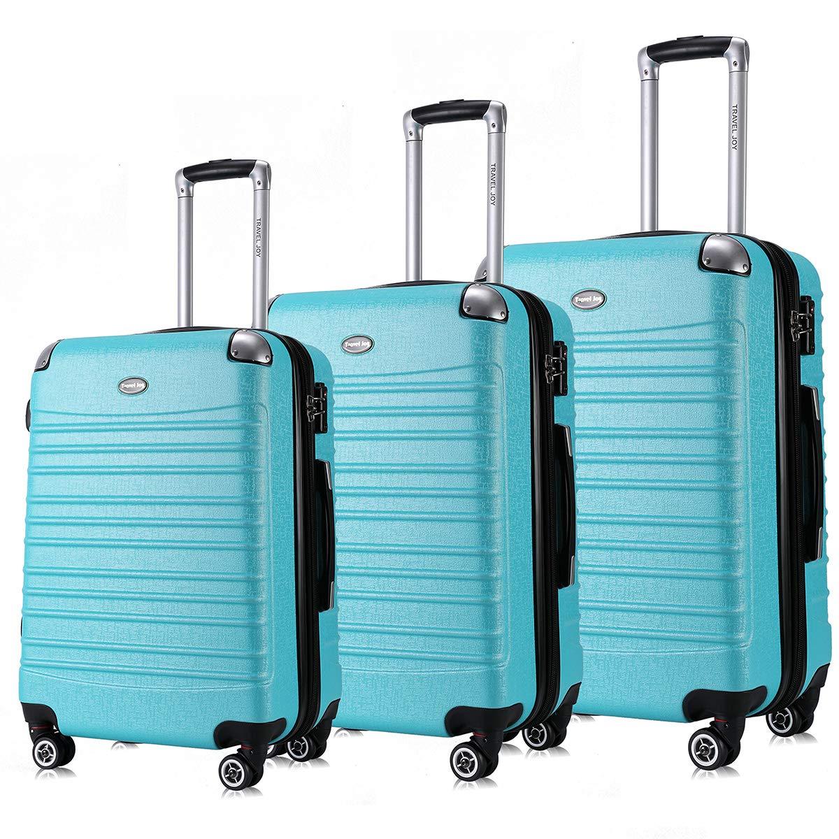 Expandable Luggage Set, TSA Lightweight Spinner Luggage Sets, Carry On Luggage 3 Piece Set (TURQUOISE, 3 pcs set(20''24''28''))