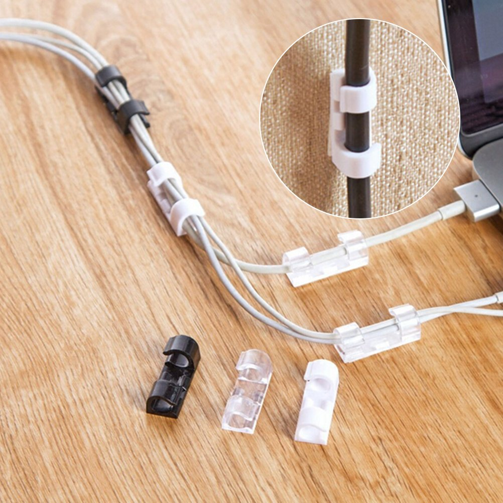 Blanco Cikuso 20 Pcs//Lote Fijaci/ón de Alambre Clip de Sujeci/ón Cable de Escritorio Despejar Clips Titulares de Clip Clip de Cable Dispositivo de Cable Usb Clips Holder Organizador