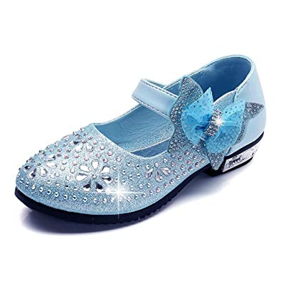 d145ddb70f4 CYBLING Little Girl s Adorable Sparkle Mary Jane Side Bow Strap Low Heels Princess  Dress Shoes