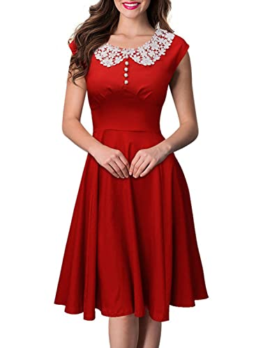 SYLVIEY Womens Classy Vintage Hepburn Style 1940s Rockabilly Evening Party Dress