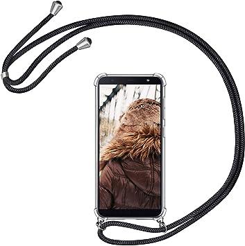MXKOCO Carcasa de movil con Cuerda para Colgar Samsung Galaxy J6 Plus 2018-Funda para Phone Case con Correa Colgante/PC Smartphone Necklace con Banda- con Cordon para Llevar en el Cuello -Negro: Amazon.es: