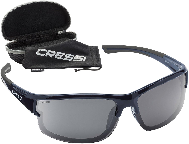 Cressi Phantom Sonnenbrille, Schwarz/Verspiegelte Gläser Grün, One Size