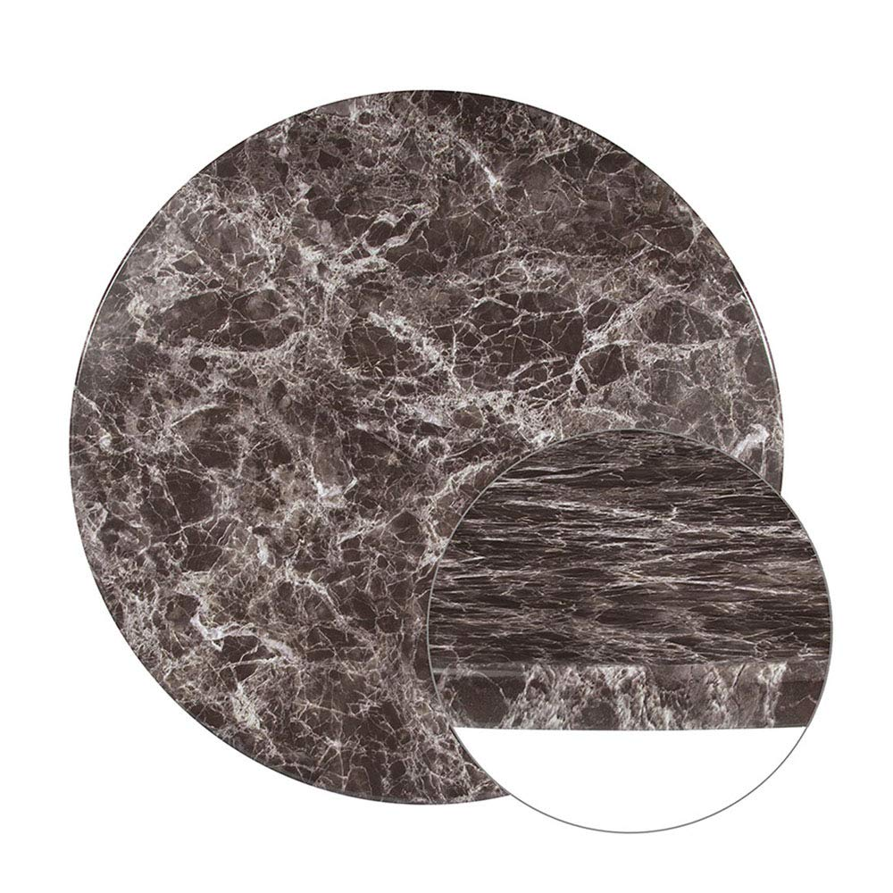 Offex 30'' Round Gray Marble Laminate Dining Table Top by Offex (Image #2)