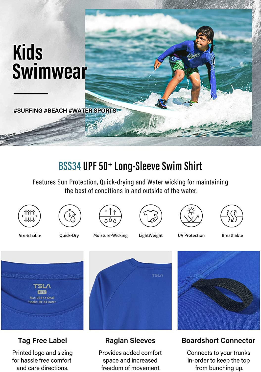 Long Sleeve Rashguard Youth Surf Kids Swim Top TSLA Boys UPF 50