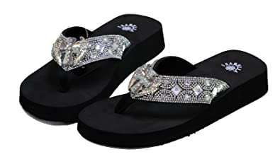 1b203873c8f505 Women Flip Flop Flat Western Cross Wing Slipper Bling Rhinestone Sandals (S)