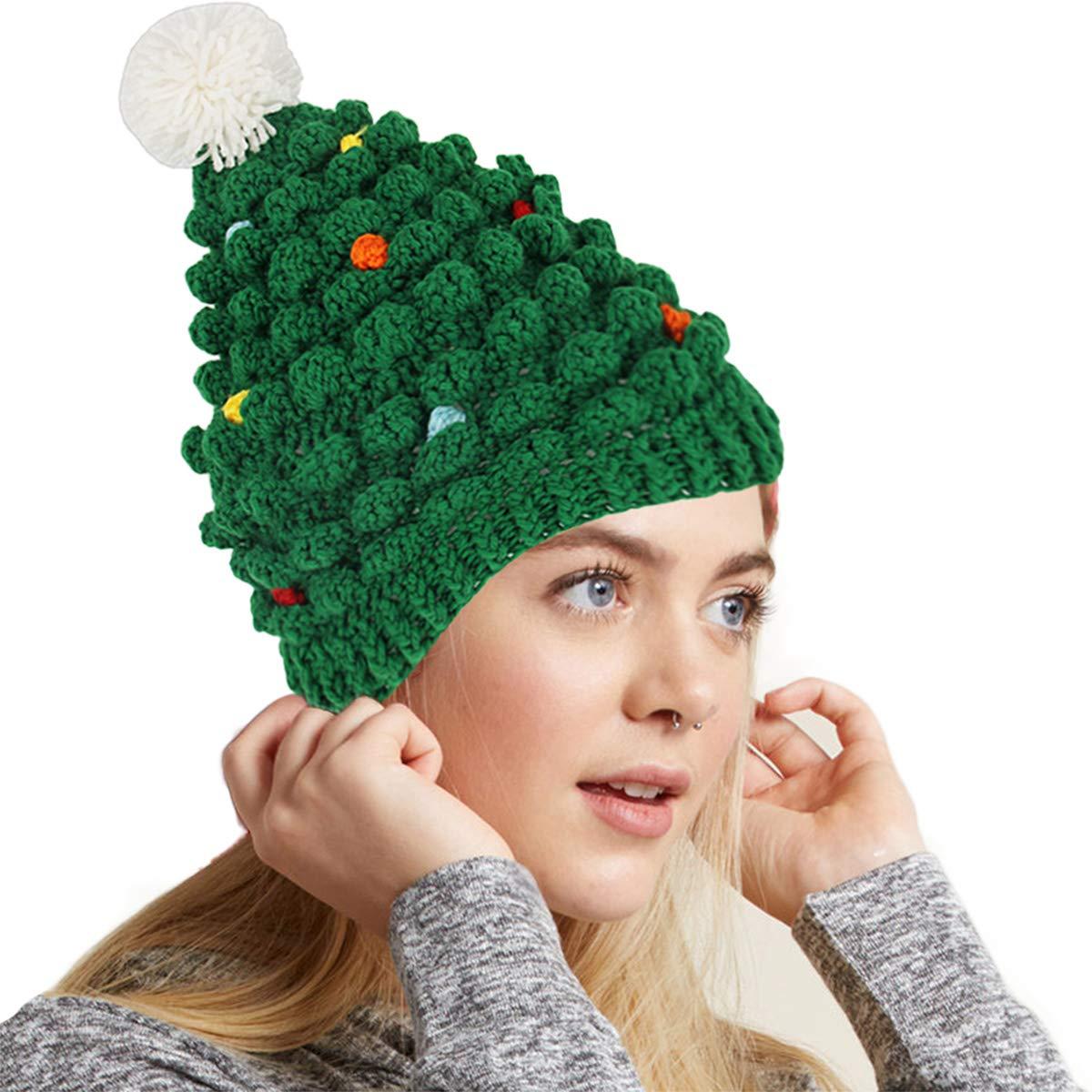 Amazon.com  Green Santa Hat for Adults Christmas Beanie Hats Novelty Winter  Knitted Cotton Crochet Hat G008  Clothing fbda886e1ed