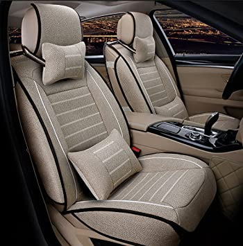 FREESOO Car Seat Cover Cushions PU Leather Front Rear Full Set Car Seat Covers for 5 Seats Vehicle Suitable for Year Round Use