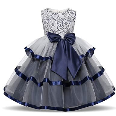 9a5d5f0202412 TTYAOVO Flower Girls Wedding Dress Bowknot Princess Pageant Dresses 2-3  Years T-Deep