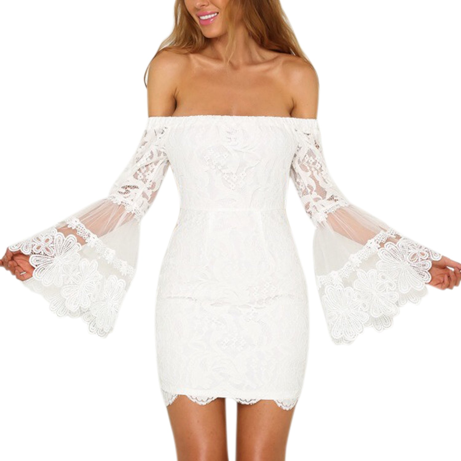 CHNS Women Off Shoulder Lace Dress Bodycon Flared Sleeves Wedding Dress