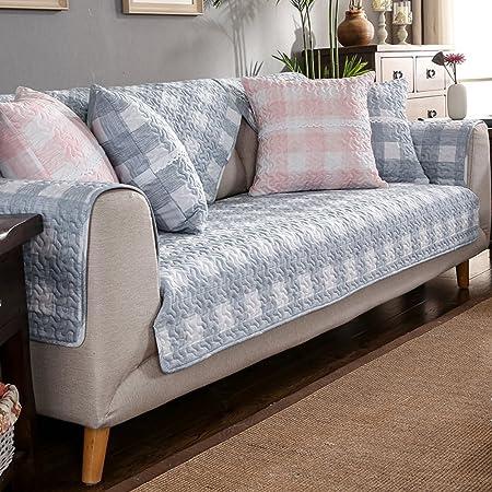 D&LE Protector para sofás,Protector para sofás,Paño Algodón Funda de sofá Tela Cruzada Bordado de Antideslizante Simple Universal de Cuatro Estaciones Funda para sofá 1pc-B 20 * 20in: Amazon.es: Hogar